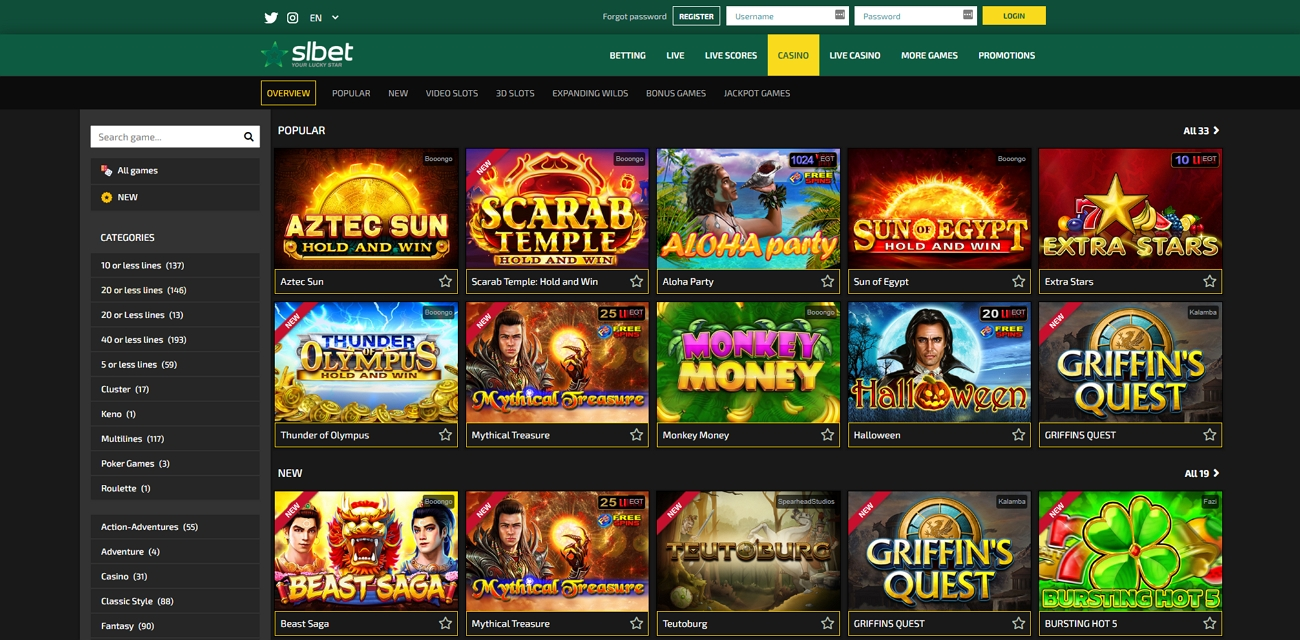 Slbet casino section