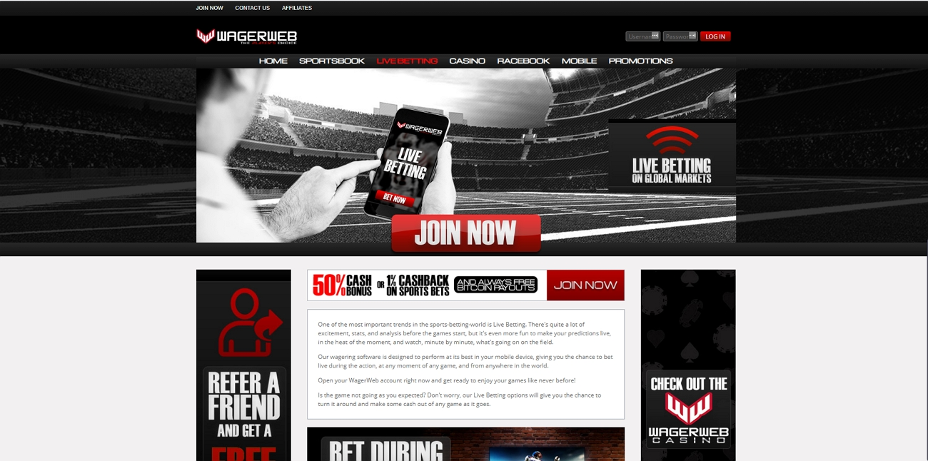 Wagerweb live betting section