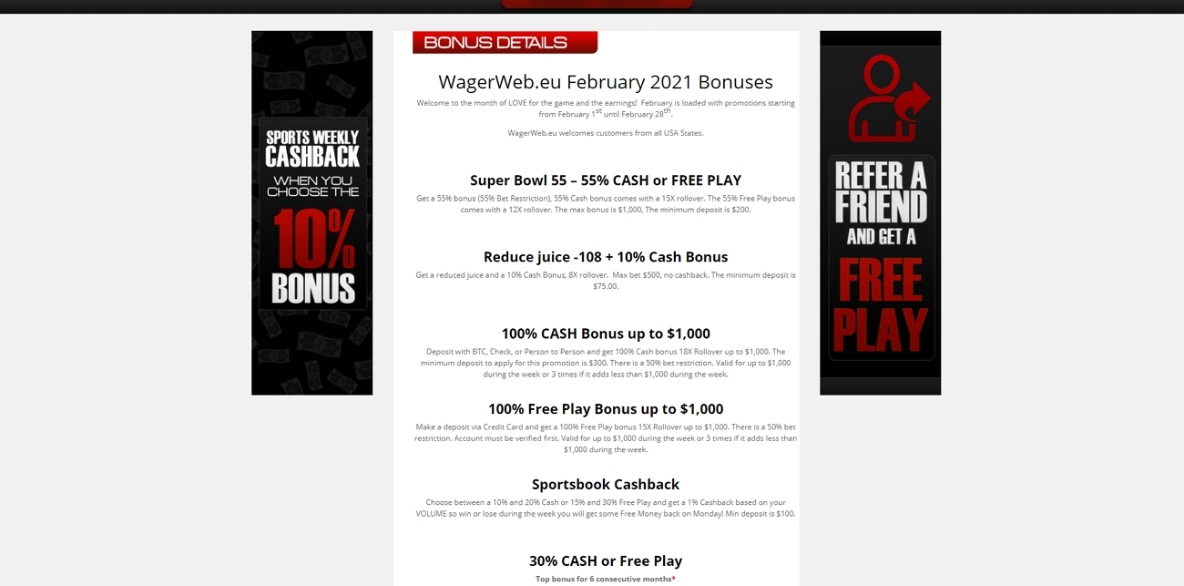 Wagerweb bonus and promotions