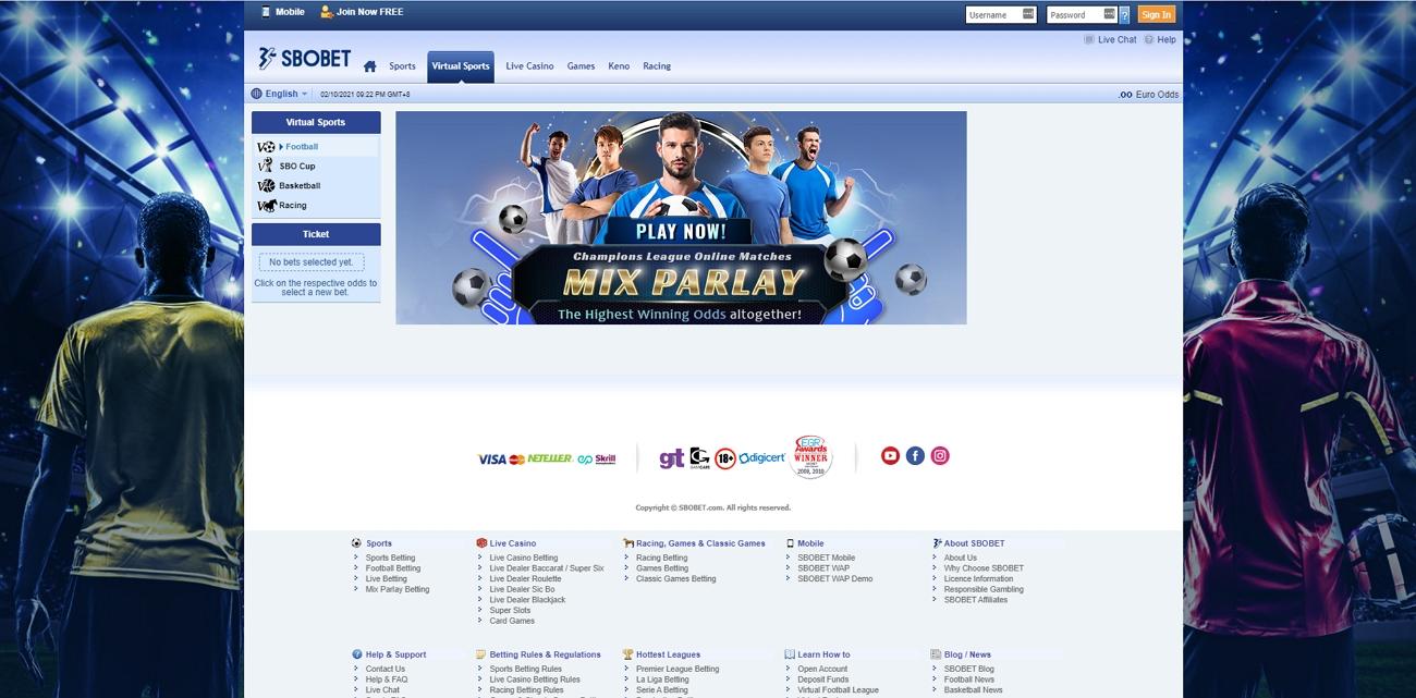 Sbobet virtual sport betting section