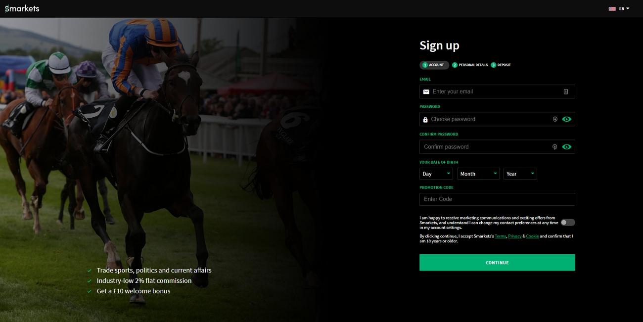 Smarkets registration page