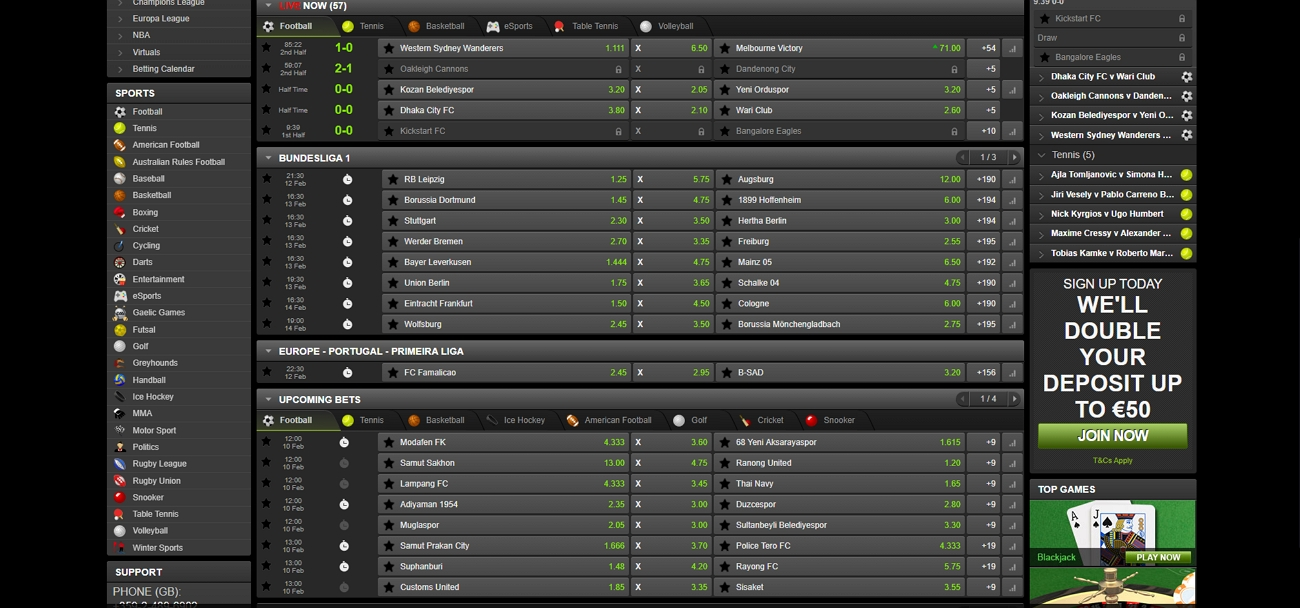 Titanbet sports betting section