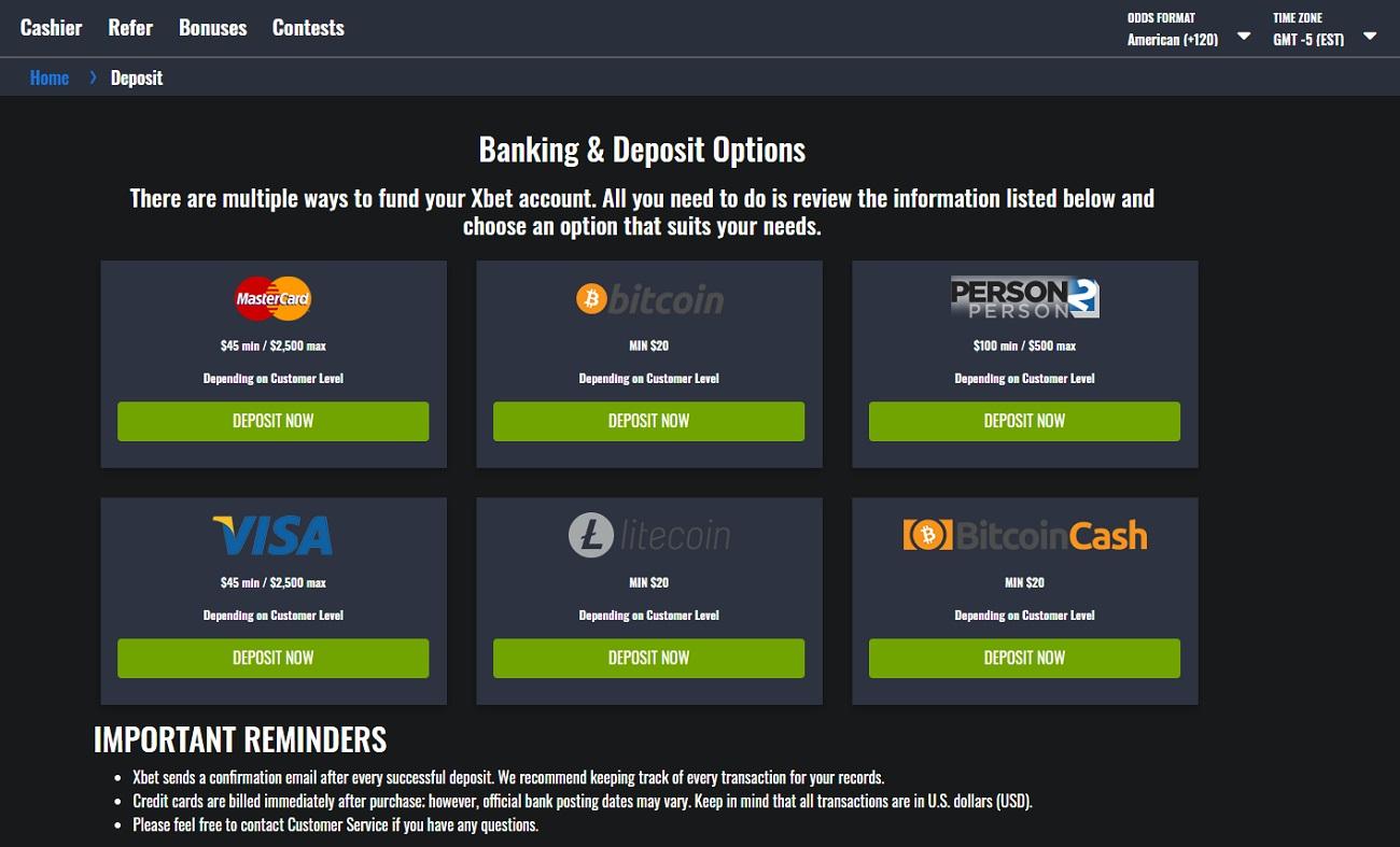 Xbet Banking & Deposit Options