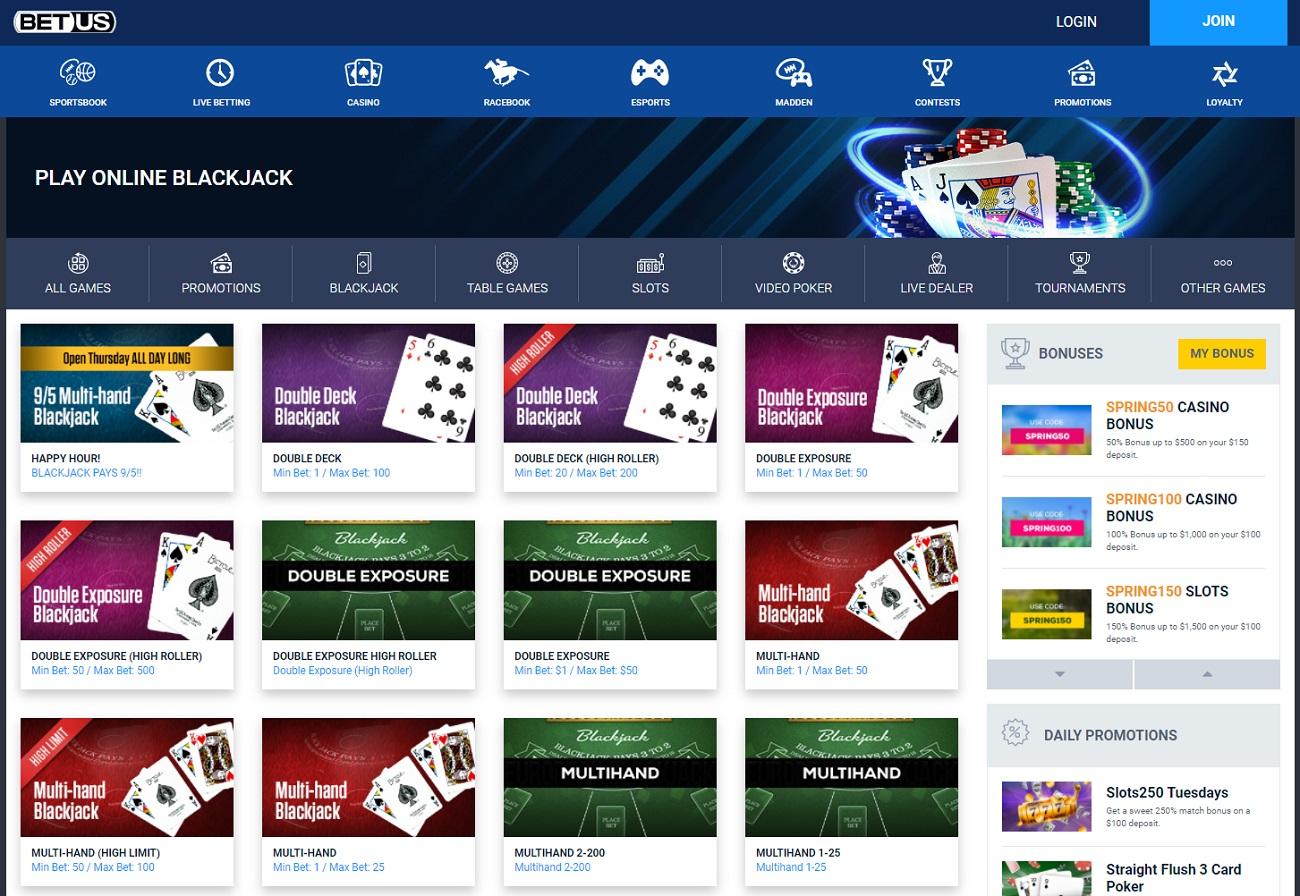 Blackjack section at bet US