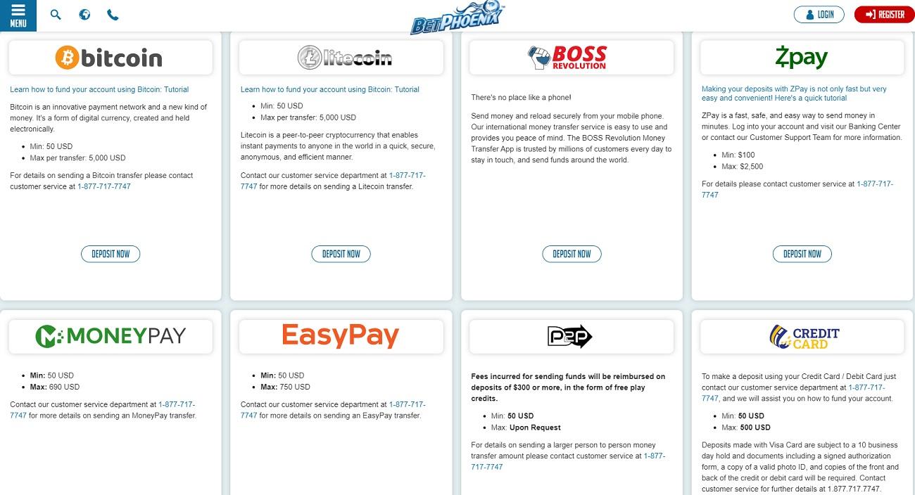 Payment methods BetPhoenix