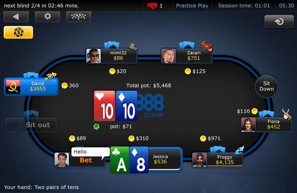 poker room at 888poker